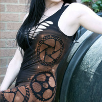 Steampunk Post Apocalyptic Goth Industrial Zombie Mini Bodycon Dress Shredded Woven Deconstructed