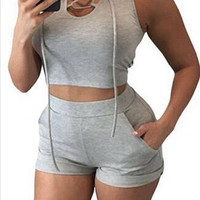 Gray Casual Hooded Two Piece Set 11964