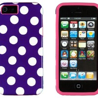 DandyCase 2in1 Hybrid High Impact Hard Purple Polka Dot Pattern + Silicone Case Case Cover For Apple iPhone 5S & iPhone 5 (not 5C) + DandyCase Screen Cleaner