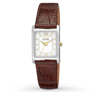Citizen EP5914-07A Women's Eco-Drive White Dial Brown Leather Strap Watch