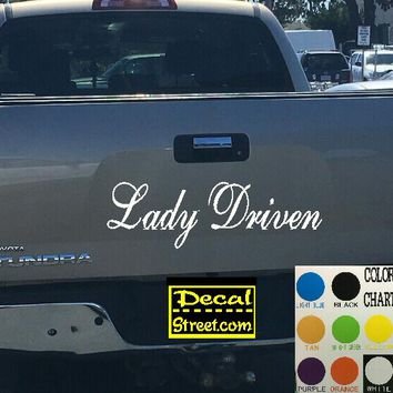 Lady Driven Tailgate Decal Sticker 4x4 Diesel Truck SUV