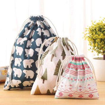 New Fresh Fabric Cotton Travel Organizer Drawstring Tote Storage Bag