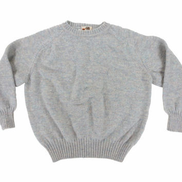 Wool Sweater in Pale Green - Pullover Jumper Preppy Ivy League Menswear - Women's Size Large Lrg L