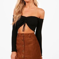 Laura Bonded Suede Button Through Mini Skirt | Boohoo