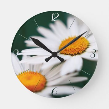 Two pretty daisies. Arabic numerals. Round Clock