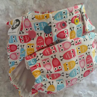 Owls in Blue, Pink and Yellow - Cover or Pocket Diaper - One-Size or Newborn, S, M, L