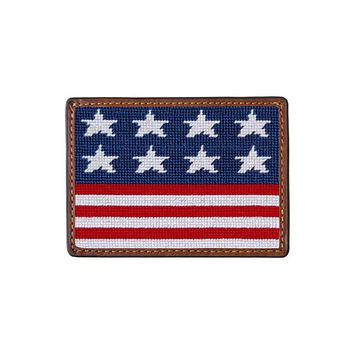 Old Glory Needlepoint Credit Card Wallet in Red, White, and Blue by Smathers & Branson