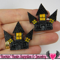 4 pcs HAUNTED HOUSE Halloween Resin Flatback Decoden Cabochons 33x35mm