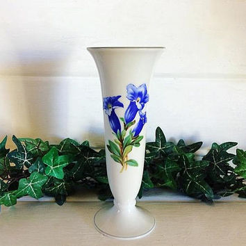 Vintage German Vase, LHS Germany, Blue Porcelain Vase, Spill Vase, Made in Germany, Vintage Decor, Germany Spill Vase, Tulip Vase, Daffodil