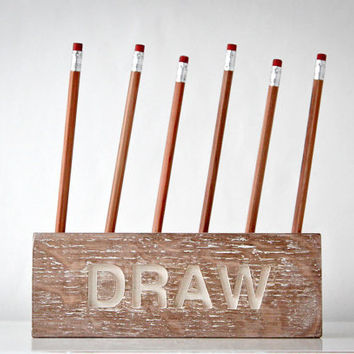 Desk organizer for pencils, brushes and pens -DRAW-. Simple and stylish shabby looking wooden item