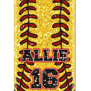 Custom Personalized Softball Baseball glitter iPhone 5 4s 4 Samsung Galaxy s3 Phone Case