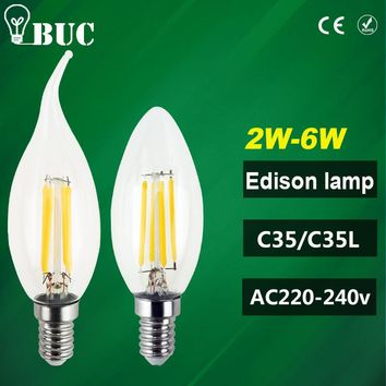 2016 New Design LED Filament E14 Bulb 2W 4W 6W 8W AC 220V 240V Lamp Edison Glass Candle Lights Lighting For Chandelier