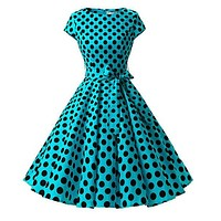 1950s Inspired Retro Rockabilly Cap-Sleeve Dress, Turquoise with Large Black Polka Dots, Size 2XL