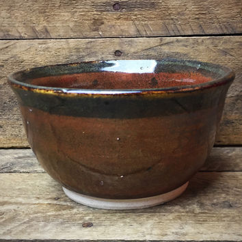 Small Brown Pottery Serving Bowl