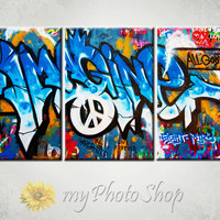 "Framed Large 3 Panel (24"" x 48"") Art Canvas Graffiti Modern Art Giclee Canvas Print - Ready to Hang"