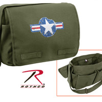 Heavyweight Canvas Classic Messenger Bag - Air Corp - Olive Drab