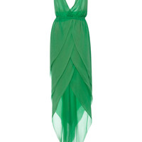 New York Vintage Halston Green Chifon Halter Gown by New York Vintage - Moda Operandi
