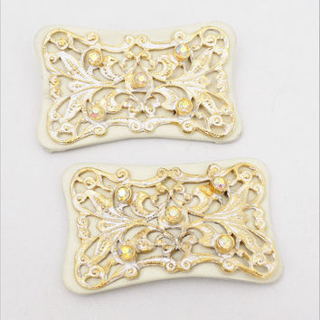 White Leather Aurora Borealis Shoe Clips, Gold and White, Vintage Accessories