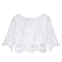 Miguelina Lou Top - White Crop Top - ShopBAZAAR