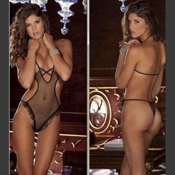 spring new sexy lingerie hot Breathable mesh teddy lingerie sexy lace sexy underwear
