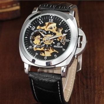 Vintage Leather Automatic Mechanical Watch for Business Men