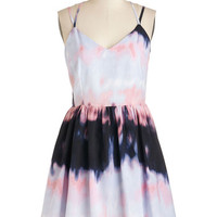 Jack by BB Dakota Festival Mid-length Spaghetti Straps A-line Turn of the Tie Dye Dress