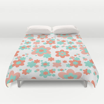 Coral and Mint Green Floral Duvet Cover by Decampstudios