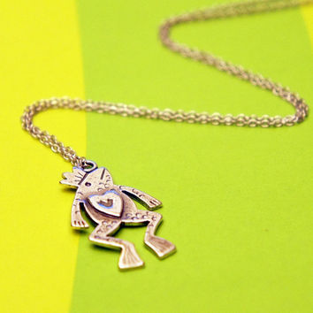 Frog prince necklace in sterling silver (silver frog necklace)