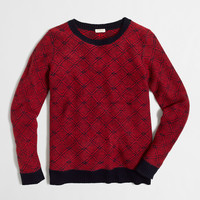 Factory diamond-jacquard split-back sweater