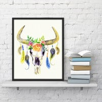 Cow Head Poster, Cow Skull decor, Cow Skull art Tribal Cow Horns floral cow skull print feather cow skull art cow gifts Printable women gift