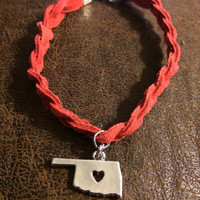 OU Adult Braided Leather Essential Oil Diffuser Adult Diffuser~Women's Diffuser~Womens OSU Bracelet