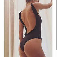 2018 New One Piece Swimsuit Women Backless Solid Color One Piece Swimsuit F0442-1 Black