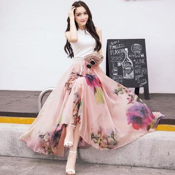 VONG2W 2017 New Fashion Elastic Waist Casual Chiffon Skirt Summer Bohemian Floral Print Beach Maxi Flower Long Skirt For Women