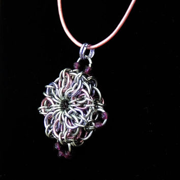 Chainmaille Pendant Medallion Necklace, Light Pink and Lilac, Compass Points