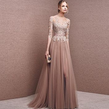 Sexy Champagne Long Evening Dresses 2017 Sheer Appliques lace Tulle with Sleeves Backless Formal party Dresses Robe De Soiree
