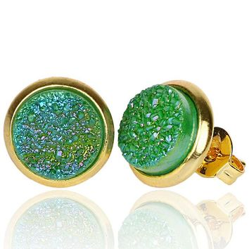 STYLEDOME Crystal Gold Plating Quartz Druzy Earrings Natural Stone 8mm