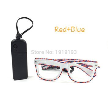 Led Neon Rope Tube Party Glow Glasses Voice Sensitive DC3V EL Wire Novelty Luminous Eyeglasses