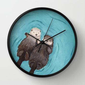 Otterly Romantic - Otters Holding Hands Wall Clock by When Guinea Pigs Fly