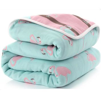 115 CM  Muslin Cotton Four Layers Thick Newborn Baby Blanket