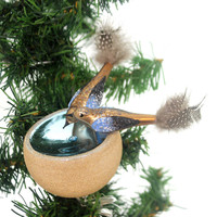 Golden Bell Collection Birds In Birdbath Glass Ornament