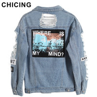CHICING Women Hole Distrressed Letter Patch Ripped Denim Jacket 2016 New Autumn Winter Basic Women Bomber outerwear B1609098