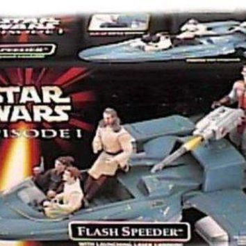 CREYN3C Star Wars Year 1998 Episode 1 'The Phantom Menace' Vehicle - Flash Speeder with Flip-Up Battle Damage, Slide-Out Gunner Platform and Launching Laser Cannon (Action Figure Sold Separately)