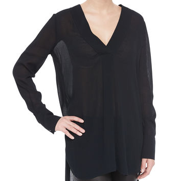 Long-Sleeve V-Neck Sheer