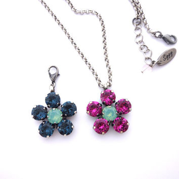 Swarovski crystal Flower Pendant **SELECT-A-COLOR** Available as detachable or on a chain, Siggy Jewelry