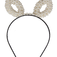 Pearl Beaded Ears Hairband - Cream