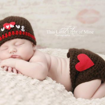 Valentine - Outift - Valentines Day Gift For Him - Newborn Photo Prop - Photo Prop - Newborn Outfit - Valentine Outfit - Baby Boy Valentine
