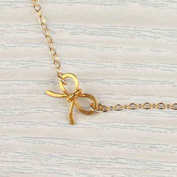 "Tiny bow necklace, gold bow necklace, bridesmaid necklace, 14k gold filled, sweet 16 birthday,  girly necklace, charm necklace, ""Tiny Bow"""
