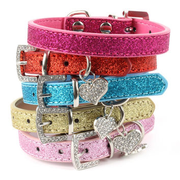 Bling Crystal Pendant Leather Dog Cat Collar