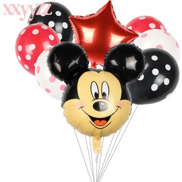 XXYYZZ 8pcs/lot Minnie Mickey Mouse Head Happy Birthday Foil Balloons Decoration Cartoon Party Supplies Wave Point Latex Balloon