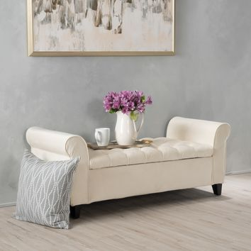 Keiko Tufted Velvet Armed Storage Ottoman Bench by Christopher Knight Home | Overstock.com Shopping - The Best Deals on Ottomans